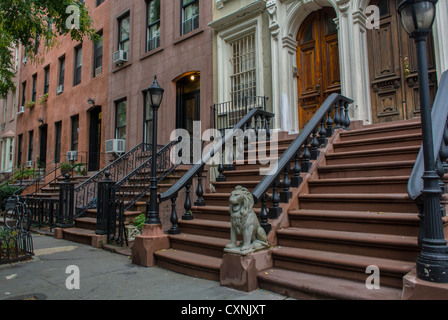 New York, NY, USA, Historic Row Houses, Brownstone Buildings, Street Scenes, in Chelsea Area, Front Steps - Stock Photo