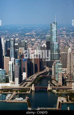 aerial photograph Trump International Hotel and Tower Chicago, Illinois - Stock Photo