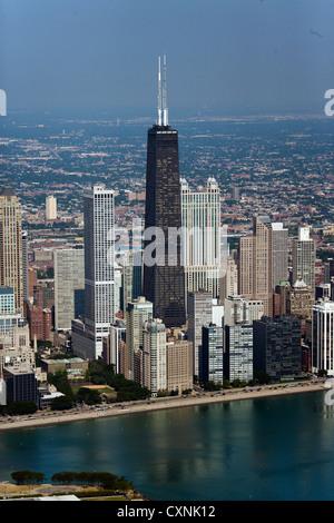 aerial photograph John Hancock Center, Chicago, Illinois - Stock Photo