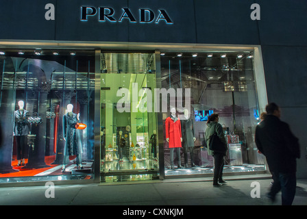 New York, Prada, Luxury Fashion Brands CLothing SHop, Prada, Fifth Avenue, Store Front WIndows mannequins fashion - Stock Photo