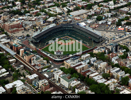 aerial photograph Wrigley Field, Chicago, Illinois - Stock Photo