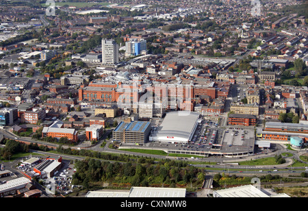 aerial view of Oldham town centre - Stock Photo