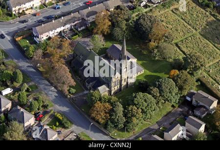 aerial view of St Mary's Church at Wyke near Bradford - Stock Photo