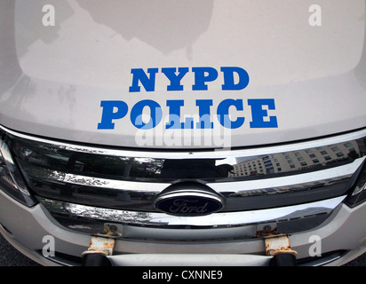 Detail of NYPD police car, New York City, USA - Stock Photo