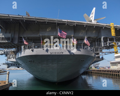 Aircraft Carrier USS Midway, on the San Diego Waterfront, San Diego CA - Stock Photo