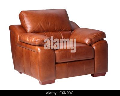 Brown luxury genuine leather conner sofa isolates on white - Stock Photo