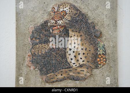 Floor mosaic fragment in The Delos Museum, Archaeological site of Delos, Delos, Cyclades, South Aegean Region, Greece - Stock Photo