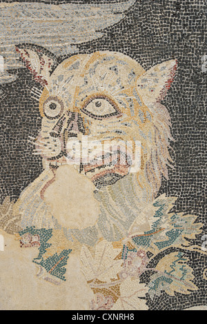 Panther floor mosaic in House of Dionysos, Archaeological site of Delos, Delos, Cyclades, South Aegean Region, Greece - Stock Photo