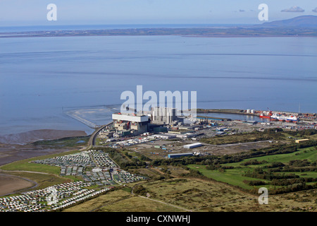 aerial view of Heysham nuclear power station Cumbria - Stock Photo