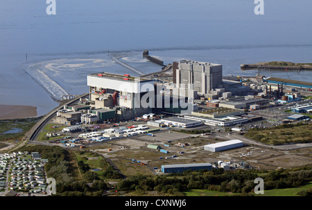 aerial view of Heysham nuclear Power Station in Cumbria - Stock Photo