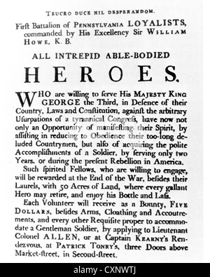 AMERICAN REVOLUTIONARY WAR (1775-1783)  Recruiting poster for men to join the Pennsylvania Loyalists under Sir William - Stock Photo