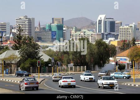 street and skyline of Windhoek, Namibia - Stock Photo