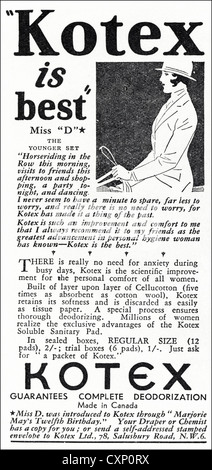 Original 1930s vintage print advertisement from English consumer magazine advertising Kotex sanitary pads - Stock Photo