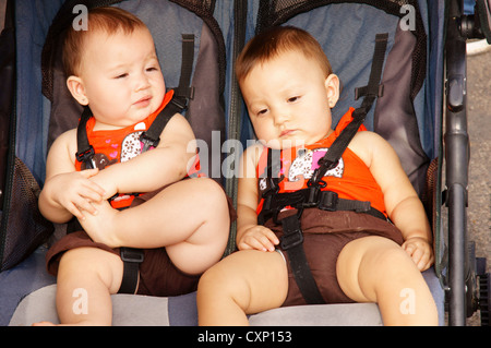 twin baby hispanic latino boys babies portrait headshot head-shot tired beat angry stroller straps shoulder - Stock Photo