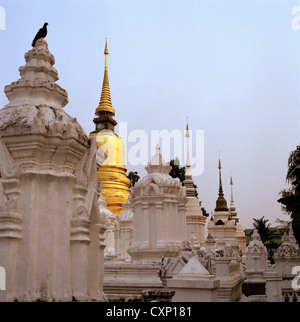 Thai Royal Cemetry at Wat Suan Dok aka Wat Buppharam Chiang Mai in Thailand in Far East Southeast Asia. Oriental - Stock Photo