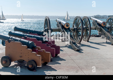Cannons on Dockside in festival of Tall Sailing Ships in Harbour of San Diego California USA - Stock Photo