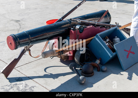 Cannon on Dockside in festival of Tall Sailing Ships in Harbour of San Diego California USA - Stock Photo