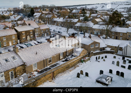 Osmotherley Village in Winter from St Peter's Church Tower North Yorkshire England - Stock Photo