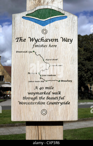 Diagram of the route of the Wychavon Way from Broadway to Droitwich on a sign post in Broadway, Gloucestershire. - Stock Photo