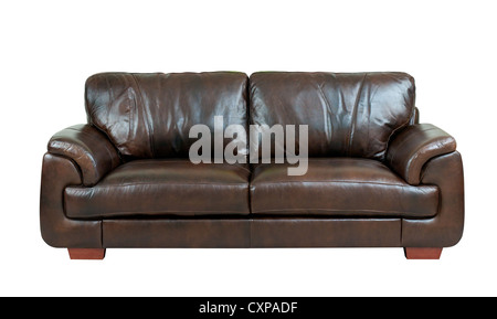 Brown luxury genuine leather sofa isolates on white - Stock Photo
