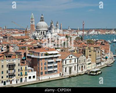 View of Venice showing Torre Dell'Orologio, Accademia di Belle Arti di Venezia and Condominio Spirito Santo - Stock Photo