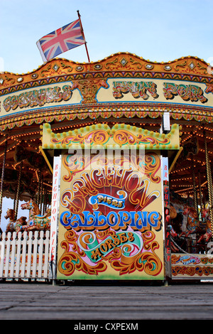 Carousel on the Brighton Pier - Stock Photo