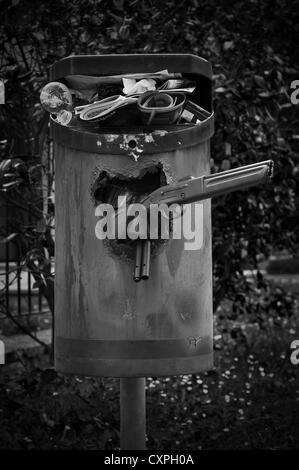 Full rubbish bin - Stock Photo