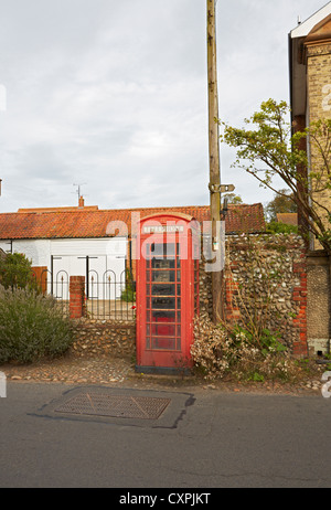 North Norfolk Cley next the Sea rural old style phone box - Stock Photo