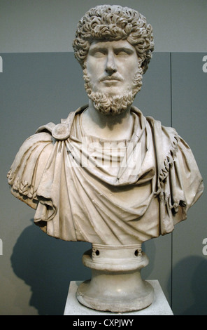 Lucius Verus (130-169 AD). Roman co-emperor. Bust. Marble. From Rome. British Museum. London. England. United Kingdom. - Stock Photo