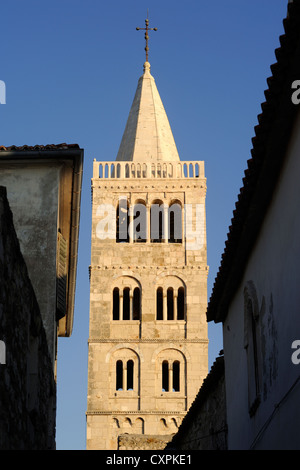 croatia, kvarner, rab island, old town, cathedral of st mary the great, romanesque church, belltower - Stock Photo