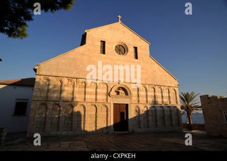 croatia, kvarner, rab island, old town, cathedral of st mary the great, romanesque church - Stock Photo