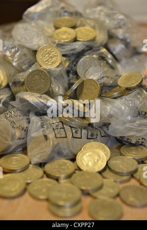 Pound Coins loose - Stock Photo