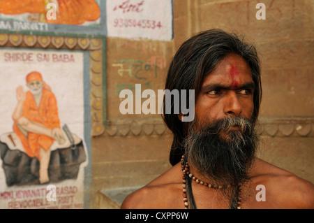 Asia  India Uttar Pradesh Varanasi or Benares Portrait of a sadhu or ascetic - Stock Photo