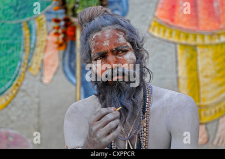 Asia India Uttar Pradesh Varanasi Portrait of a sadhu or ascetic - Stock Photo