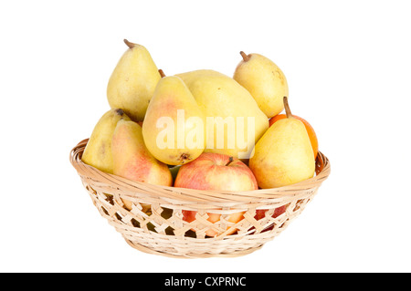 Wooden basket full of fruits on a white background - Stock Photo