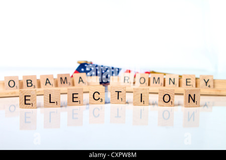 The American Election of 2012 looks to be a close run race between Barack Obama and Mitt Romney - Stock Photo
