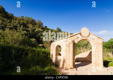 Yazidi temple at the entrance to the holy compound of Lalish, Northern Iraq - Stock Photo