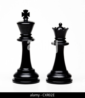Chess king and queen pieces - Stock Photo