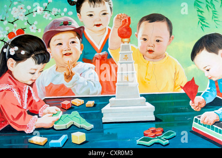 Democratic Peoples's Republic of Korea (DPRK), North Korea, poster at the Nampo Orphanage - Stock Photo