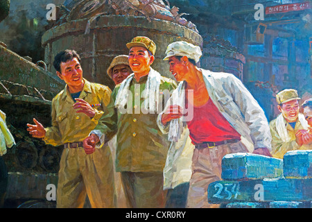Democratic Peoples's Republic of Korea (DPRK), North Korea, East Sea of Korea, Wonsan City, propaganda poster - Stock Photo