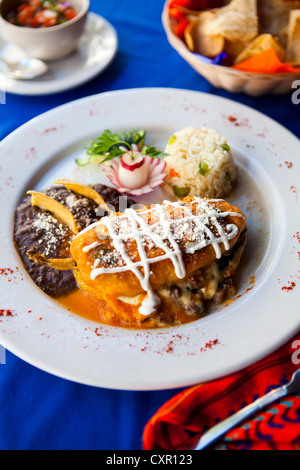 Traditional Mayan dish of stuffed pepper with rice and beans - Stock Photo