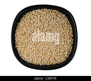 Quinoa seeds in bowl, isolated over white background - Stock Photo