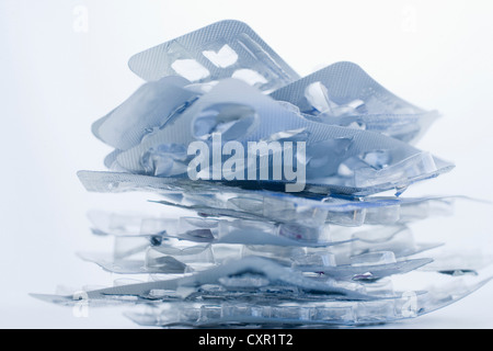 Stack of empty pill packets - Stock Photo