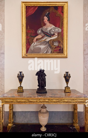 Queen Dona Maria II portrait in the Kings Room. Mafra National Palace, Convent and Basilica in Portugal. - Stock Photo