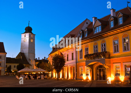Main square and council tower in sibiu, romania at blue hour - Stock Photo