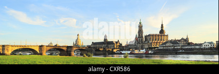 Skyline of Dresden at sunset. Germany - Stock Photo