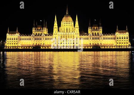 Hungarian Parliament Building at night - Stock Photo