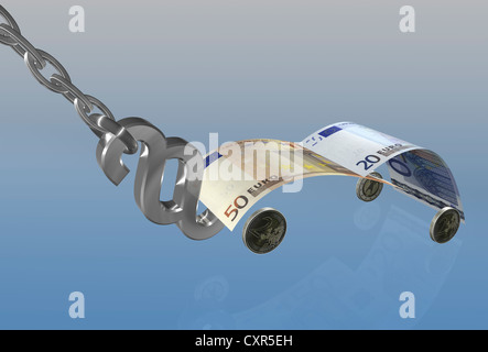 Banknote in the shape of a car on a tow hook made of a German legal sign, symbolic image for towing, illustration - Stock Photo