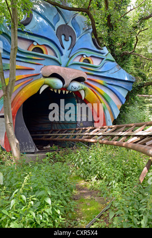 Entrance to the tunnel of the rollercoaster, abandoned Spreepark Berlin amusement park, formerly known as Kulturpark - Stock Photo