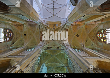 Interior view, vaulted ceiling of St. Mary's Church, Marienkirche, Hanseatic City of Stralsund, UNESCO World Heritage - Stock Photo